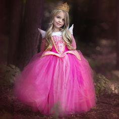 Bebê Varejo Vestido Da Menina Vestido de Princesa Crianças Roupas de Verão Rosa Azul Vestido 2016 Vestidos de Festa a Fantasia Da Menina Princesa Aurora em Vestidos de Mãe & Kids no AliExpress.com | Alibaba Group