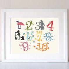 Numbers Decorative Colourful Nursery Print
