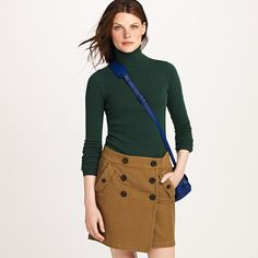 pine green sweater with brown skirt.  work outfit idea.