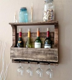 LOVE THIS. mesquite,tx. Small Reclaimed Wood Wine Rack with Shelf - Rustic by Del Hutson on Scoutmob Shoppe