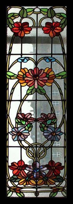Art Nouveau Stained Glass Windows | CIRCA 1900 AMAZING AND RARE Stained Glass Window Antique