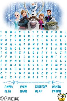 Frozen Wordsearch