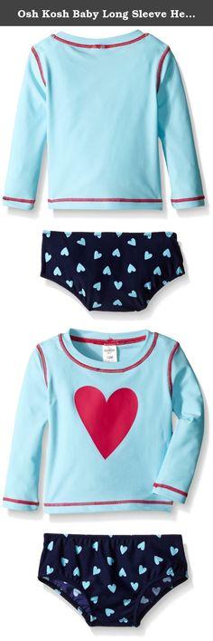 ffbcd4adde Osh Kosh Baby Long Sleeve Heart Rash Guard Set, Blue, 24 Months. Baby girl  long sleeve heart rash guard set.