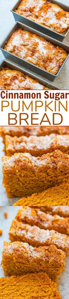 Cinnamon Sugar Pumpkin Bread - Super soft, tender, moist pumpkin bread with a slightly crunchy cinnamon sugar topping!! The MINI loaves are EASY, brimming will fall flavors, totally IRRESISTIBLE, and accidentally vegan!!