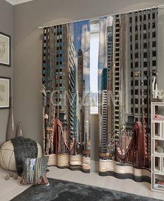 """Комплект штор """"Мост в мегаполисе"""": купить комплект штор в интернет-магазине ТОМДОМ #томдом #curtains #шторы #interior #дизайнинтерьера"""