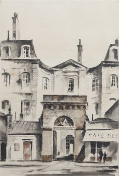 Sale 313 Lot 168 of Lilly Pulitzer Estate  John Hulse  (American, 20th century)  Paris Street Scene  watercolor  signed (lower right)  39 x 26 inches.  Estimate $ 2,...