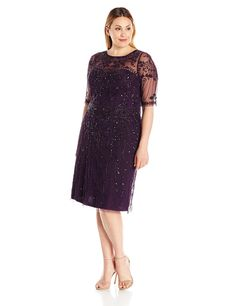 Marina Womens Plus-Size All Over Sequin Scalloped Hem Dress, Gun