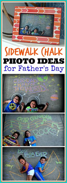 Looking for a creative way to celebrate Father's day. Here's a great idea your kids can do to impress their dad or grandfather! Grab your chalk and camera. for fathers day, diy mothers day gifts, grandparents day gift ideas Daddy Gifts, Gifts For Dad, Baby Papa, Projects For Kids, Crafts For Kids, Dad Crafts, Toddler Crafts, Chalk Photos, Colegio Ideas
