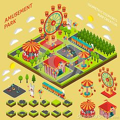 amusement-park-isometric-map-creator-composition-attractions-elements-symbols-fairground-banner-abstract-vector-illustration-65018644.jpg (400×400)