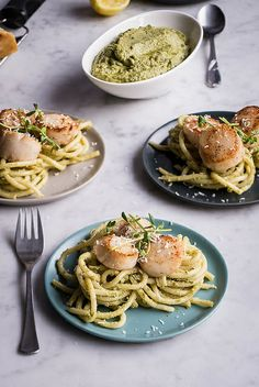 Pea Shoot Pesto Bucatini with Seared Sea Scallops www.PineappleandCoconut.com by PineappleAndCoconut, via Flickr
