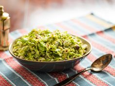 Salt-Wilted Brussels Sprout Salad With Hazelnuts and Goat Cheese. Pistachios instead of hazelnuts.