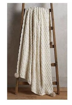 NEW Anthropologie Chunky Knit Throw Gorgeous INTERLOCHEN THROW Faux Fur Pom Poms  | eBay