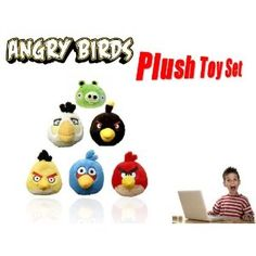 """Hard to Find Angry Birds Family Bird 3"""" Plush Set of 6 Inlcuding Red, White, Yellow, Black and Blue Bird Dolls along with one evil Pig!!"""