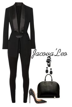 """""""We Wear Blacc Everyday"""" by jacovaleo ❤ liked on Polyvore featuring Christian Louboutin, Victoria Beckham, BLK DNM, Louis Vuitton, Melissa Joy Manning and Gucci"""