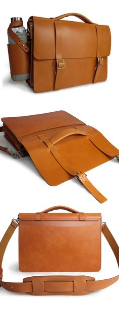 The Classic Messenger bag in English Tan full grain Bridle leather by Basader