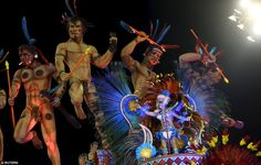 Super designs: Hours and hours of work would have gone into the design and manufacture of the dozens of colourful carnival floats