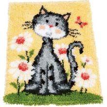 Cute Kitty  #Latch Hook Rug DIY Kit #Crafts