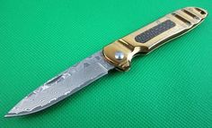 Gold-Plated Titanium Steel Damascus Folding Knife - Decorative Inlay $119.99 – Everlasting Essentials