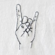 Rock On Finger Embroidery TShirt