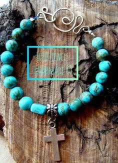 Βραχιολι με τυρκουαζ & αλπακα 10€ Turquoise Necklace, Jewels, Handmade, Hand Made, Jewerly, Gemstones, Fine Jewelry, Gem, Jewelery