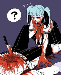 Blood and Chocolates- anime blood boy couple cute guro knife yandere Dark Anime, Creepy Cute, Scary, Anime Manga, Anime Art, Anime Boys, Yandere Girl, Male Yandere, Ero Guro