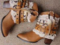 Handmade leather cowboy boots by rougepony on Etsy, £110.00 I love love love these! I'm going to DIY myself a pair soon :D