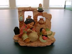 Enesco Friends of The Feather Girl Making Pottery 1996 Box Tent Tag