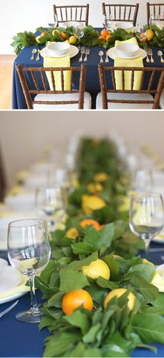 citrus + leaves in an aisle