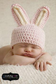 Bunny hat. $9.00, via Etsy.