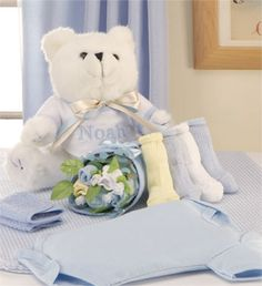 Bear & Layette Bouquet with Baby Boy's Name