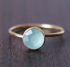 Aqua Chalcedony Ring in 14k Gold by friedasophie on Etsy, $65.00