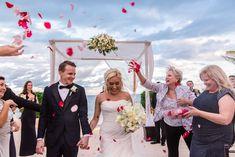 Destination wedding, just married, rose petal recessional, ceremony ideas, Cancun wedding, Mexico wedding, candid wedding photography, Emma Mullins Photography