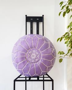 PURPLE LEATHER POUF – Milsouls Moroccan Leather Pouf, Moroccan Pouf, Purple Leather, Real Leather, Ottoman, Old Clothes, Decorating Your Home, Outdoor Spaces, Bohemian Style