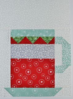 In From The Cold Hot Cocoa quilt block #1 by Grey Dogwood Studio. Pattern and fabric by Kate Spain.