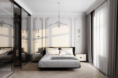 - Living room - on Behance Minimalist Bedroom, Modern Bedroom, Bedroom Decor, Neoclassical Interior, Small Bathroom Renovations, Apartment Interior Design, Master Bedroom Design, Suites, Luxurious Bedrooms