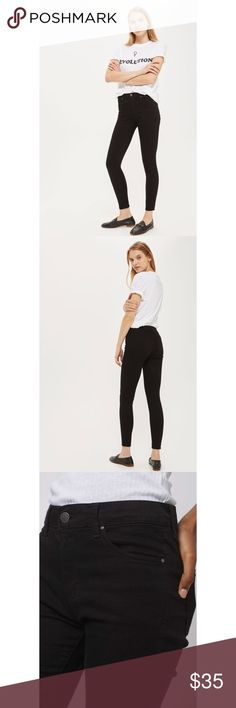 🆕Topshop Leigh Black Jeans Topshops most-loved and wearable skinny jean to date, the MOTO Leigh comes in a mid-rise, skinny fit. Crafted from a super-soft, stretchy black cotton blend, with multiple pockets and a top button fly. This jean is the ultimate in comfort and second skin softness. 70% Cotton, 27% Polyester, 3% Elastane. Machine wash. Perfect condition. Only worn once Topshop Jeans Skinny