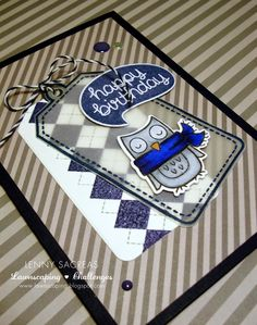 Argyle Backdrops, Birthday Tags, Chit Chat, Winter Owl