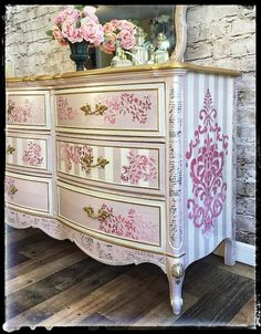 Vintage Furniture SOLD~ Elegant pink and gold Dixie dresser with matching mirror - ~SOLD~ hand painted chest of drawers with mirror. Distressed Furniture, Funky Furniture, Refurbished Furniture, Plywood Furniture, Furniture Makeover, Vintage Furniture, Painted Furniture, Home Furniture, Mirror Furniture