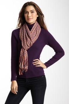 Zig Zag Knit Scarf in Purples.