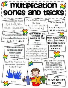 """Multiplication songs teaching-classroom-ideas If a student struggles this is a good trick. Wouldn't use this at first though, I want them to understand multiplication not the """"cheat"""" Fun Math, Math Activities, Math Resources, Math Help, Multiplication Songs, Math Songs, Math Fractions, Math Bulletin Boards, Third Grade Math"""