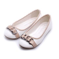 Buy White Little Pageant Party Flower Girl Event Ballet Flats Shoes SKU-133100