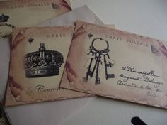 Vintage Note Cards  Distress Style  French Inspired  by mslizz, $5.00