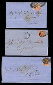 GB QV 1864 LONDON TWIN 46 CANCELS on 4d SMALL LETTERS 3 COVERS to COGNAC cv £500