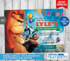 Lion King Invitation Lion King Birthday by TemplateMansion on Etsy