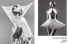 Danni Li // Paper Sculpture // Harper's Bazaar China, May 2012