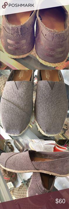 Authentic Size 6 suede Toms shoe Authentic size 6 Toms shoes beautiful suede grey! Shoes