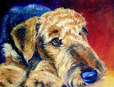 Airedale Terrier Painting - Fire Glow by Lyn Cook