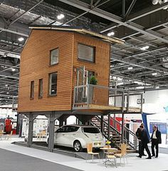 Love this idea. This is the kind of 'affordable housing' we should be building! Architect Bill Dunster has designed a range of tiny flats that stand on stilts above car parks in a bid to solve the UK's housing crisis (above) Tyni House, Tiny House Living, Casa Bunker, Casas Containers, Micro House, Small Places, Tiny Spaces, Tiny House Plans, Tiny House Design