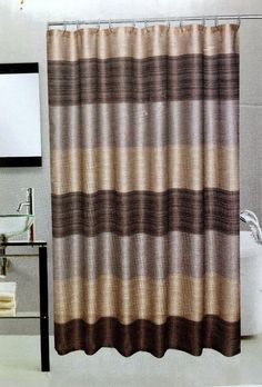 Chocolate Brown Embroidered Shower Curtain Set