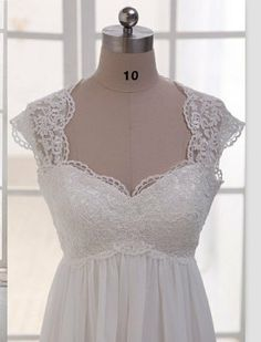 Gorgeous Cap Sleeves Lace Chiffon Maternity Wedding Dress,A Line White Pregnant Formal Dress,Empire Waist Bridal Evening Prom Gown on Etsy, $179.99